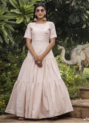 Cotton Pink Designer Gown