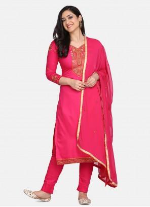 Cotton Pink Designer Straight Suit