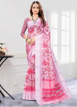 Cotton Pink Digital Print Printed Saree