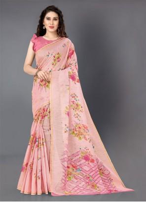 Cotton Pink Floral Print Casual Saree