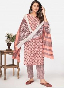 Cotton Pink Print Pant Style Suit