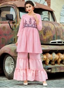 Cotton Pink Printed Designer Palazzo Salwar Kameez