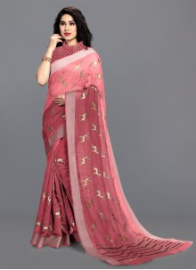 Cotton Pink Printed Saree
