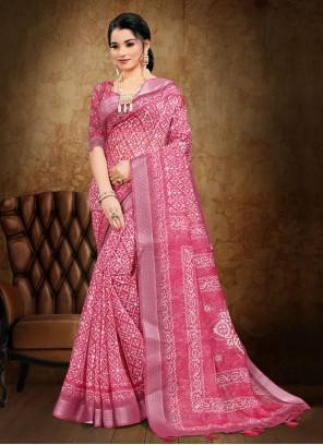 Cotton Pink Printed Saree