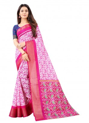 Cotton Pink Printed Saree For Festival