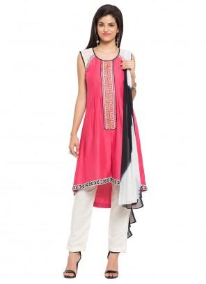 Cotton Pink Readymade Salwar Kameez