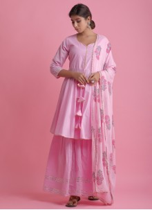 Cotton Pink Readymade Suit