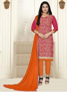 Cotton Pink Straight Salwar Kameez