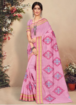 Cotton Pink Traditional Saree