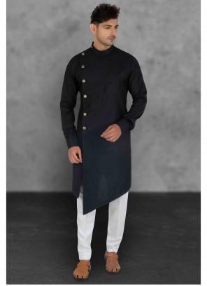 Cotton Plain Black Kurta Pyjama