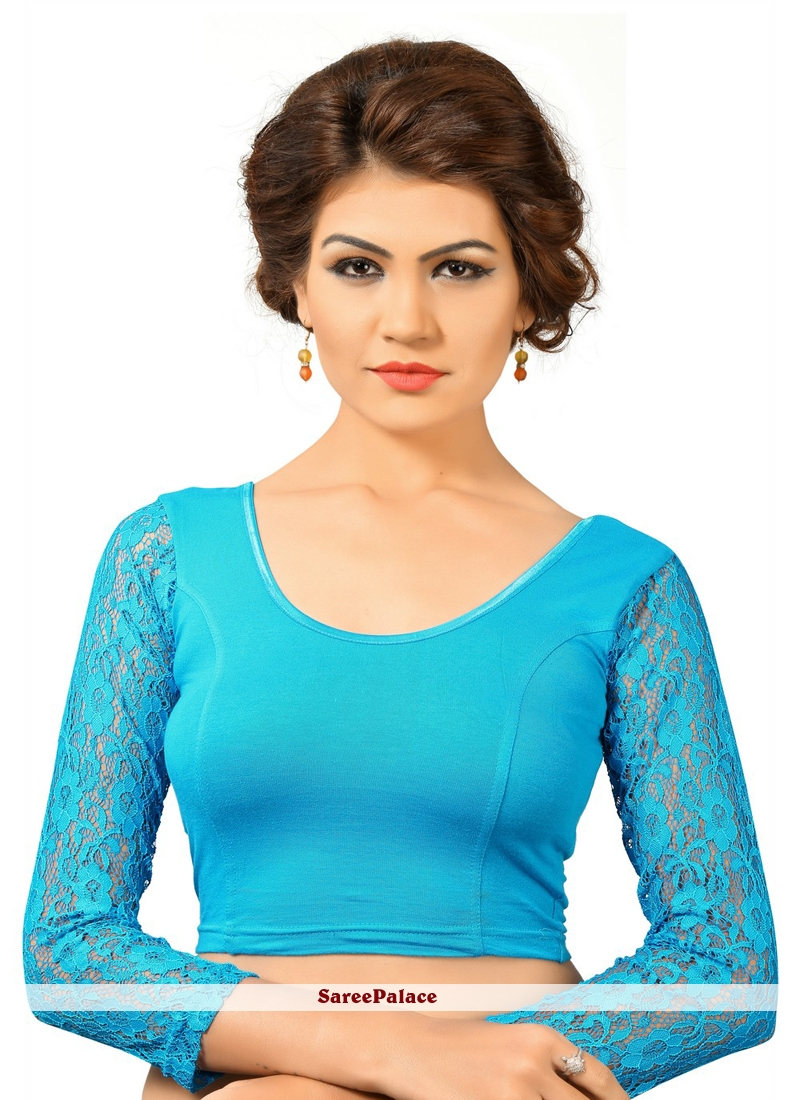 b8f0bd2ab492b6 Buy Cotton Plain Blue Designer Blouse Online