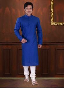 Cotton Plain Blue Kurta Pyjama