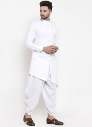 Cotton Plain Dhoti Kurta in White