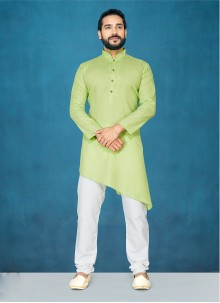 Cotton Plain Green Kurta Pyjama