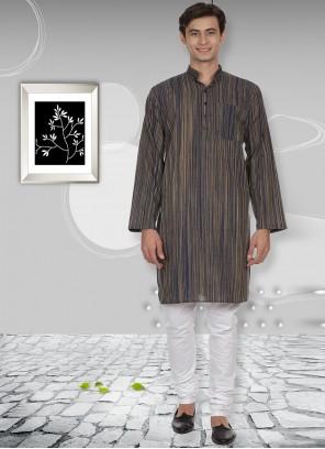 Cotton Plain Grey Kurta Pyjama