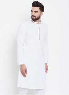 Cotton Plain Kurta in White