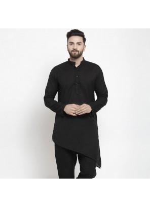 Cotton Plain Kurta Pyjama in Black