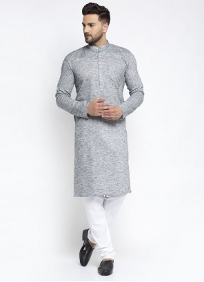 Cotton Plain Kurta Pyjama in Grey