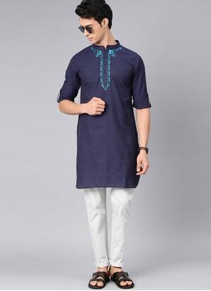 Cotton Plain Kurta Pyjama in Navy Blue