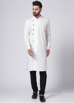 Cotton Plain Kurta Pyjama in Off White
