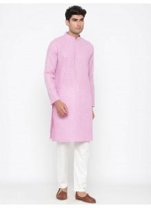Cotton Plain Kurta Pyjama in Pink