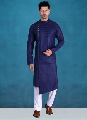 Cotton Plain Kurta Pyjama in Purple