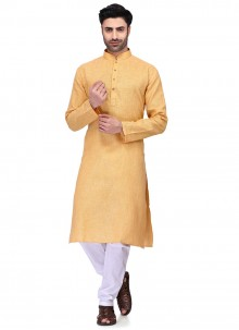Cotton Plain Kurta Pyjama in Yellow