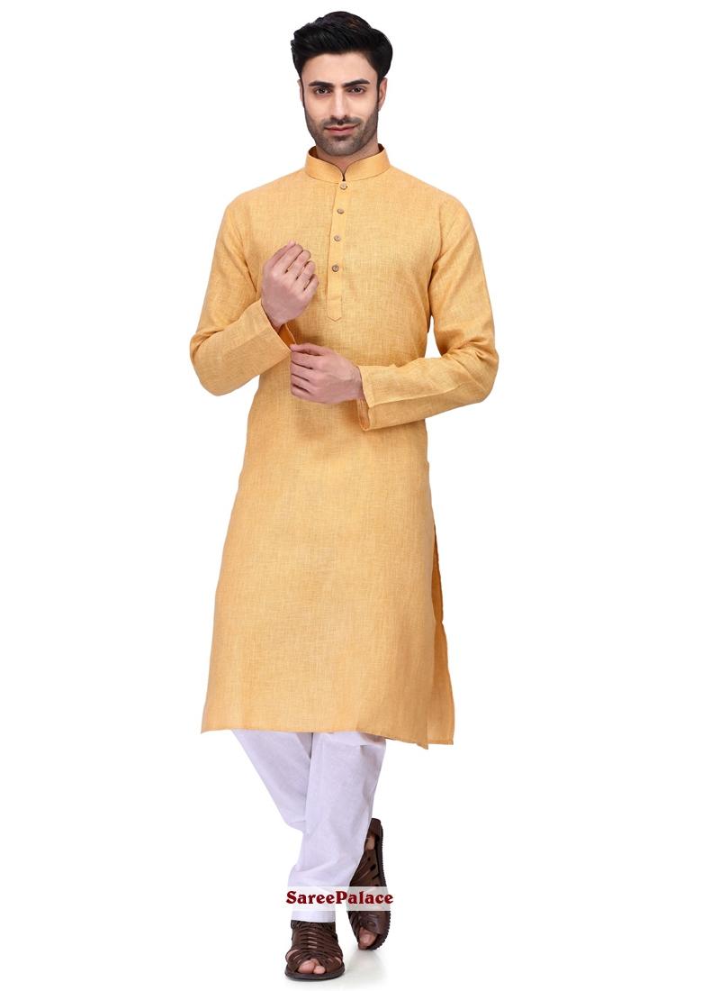 Cotton Plain Orange Kurta Pyjama