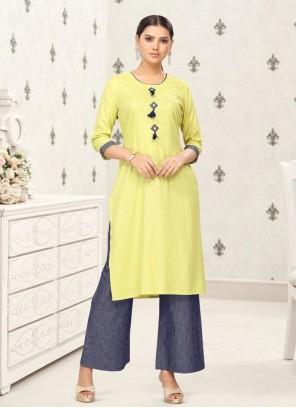 Cotton Plain Party Wear Kurti in Yellow
