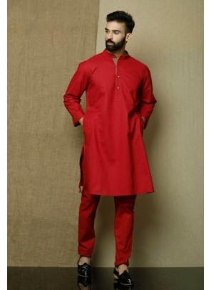 Cotton Plain Red Kurta Pyjama