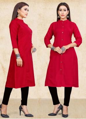 Cotton Plain Red Party Wear Kurti