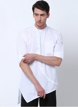 Cotton Plain White Kurta