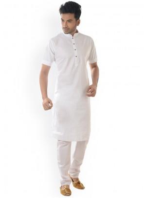 Cotton Plain White Kurta Pyjama