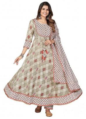 Cotton Print Beige Anarkali Suit