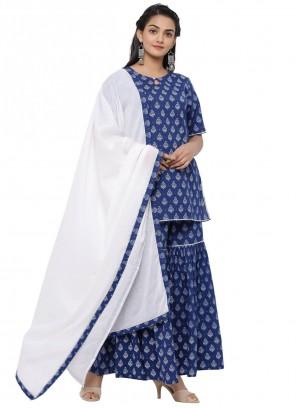 Cotton Print Blue Readymade Suit
