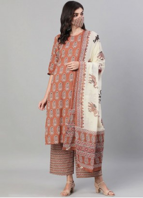Cotton Print Brown Readymade Suit