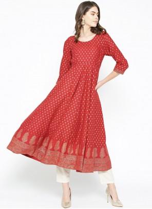 Cotton Print Designer Kurti in Red