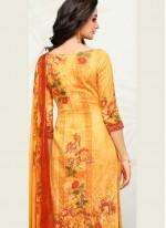 Cotton   Print Designer Palazzo Suit in Yellow