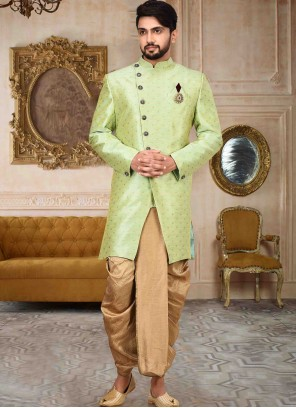 Cotton Print Green Indo Western