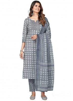 Cotton Print Grey Pant Style Suit