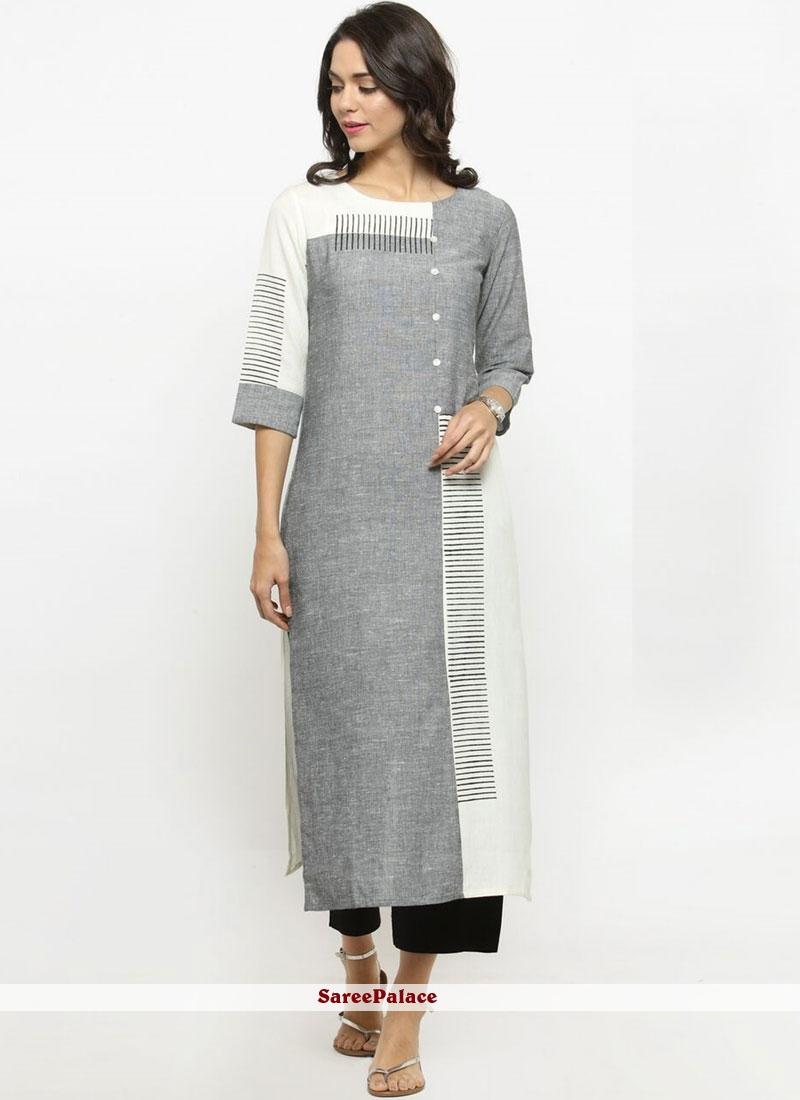 Cotton   Print Grey Party Wear Kurti
