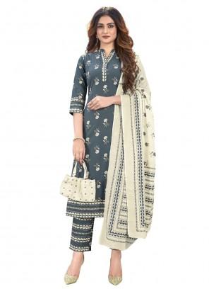Cotton Print Grey Readymade Suit