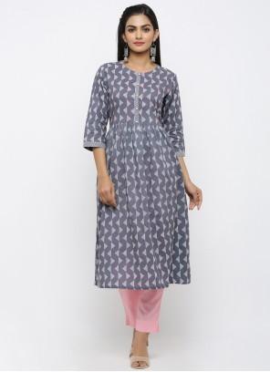 Cotton Print Grey Salwar Kameez