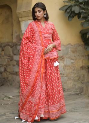 Cotton Print Lehenga Choli in Red