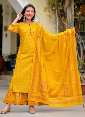 Cotton Print Mustard Readymade Suit