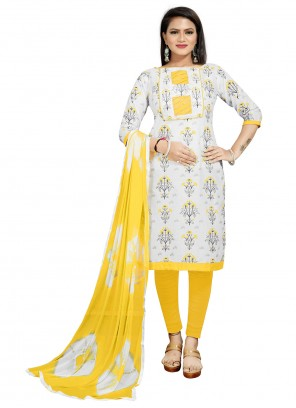 Cotton Print Off White and Yellow Churidar Suit