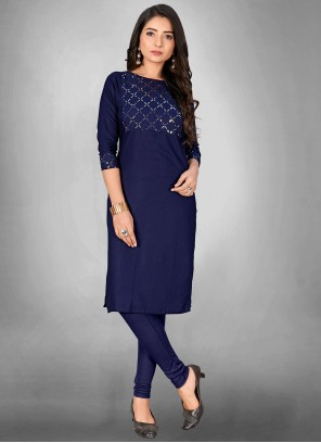 Cotton Print Party Wear Kurti in Blue