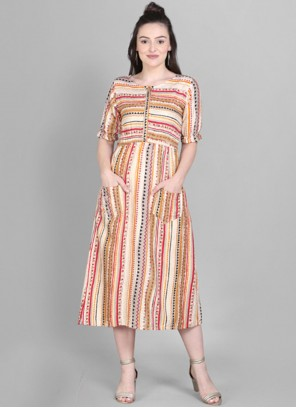 Cotton Print Party Wear Kurti in Multi Colour