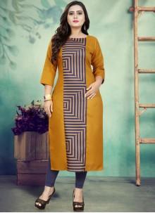 Cotton Print Party Wear Kurti in Mustard