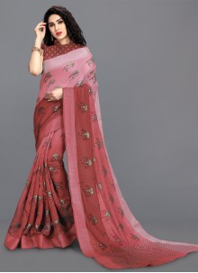 Cotton Printed Saree in Pink